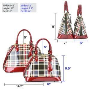 Handbags - A Plaid Design Patent Leather